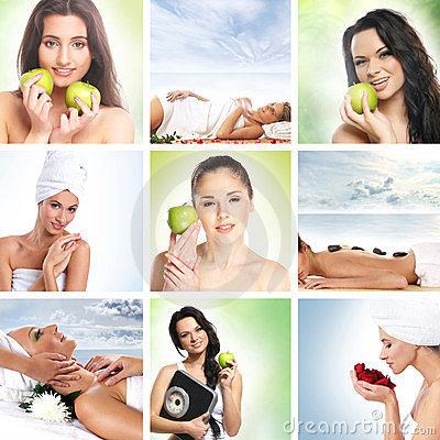 Beautiful dieting collage with young women