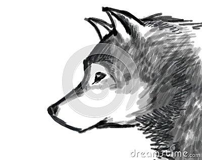 Wolf brush paint illustration black and white