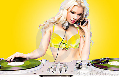 Beautiful DJ Girl Royalty Free Stock Photos - Image: 18157318
