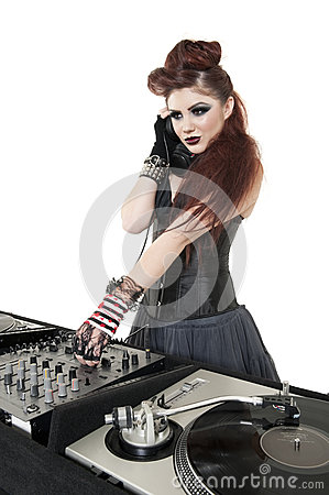 Free Beautiful DJ With Sound Mixing Equipment Over White Background Stock Images - 29674374