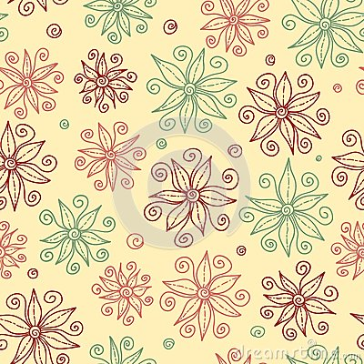 Beautiful doodle flowers seamless pattern.