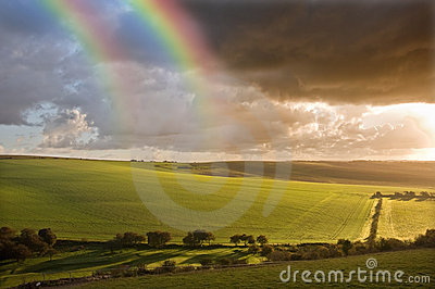 Beautiful Double rainbow over landscape