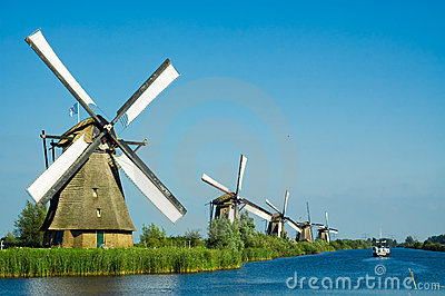 Beautiful Dutch Windmill Lands Royalty Free Stock Images - Image ...