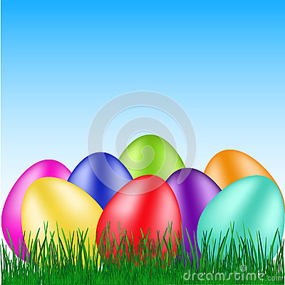 Beautiful eggs on grass Vector Illustration