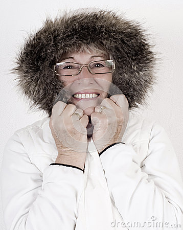Free Beautiful Elderly Woman In White Winterclothes Stock Images - 37057194