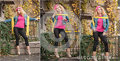 Beautiful elegant woman on street in autumn. Young pretty woman city shoot. Beautiful woman spending time outdoor during autumn
