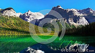 Beautiful Emerald Green Lake, Canadian Mountains