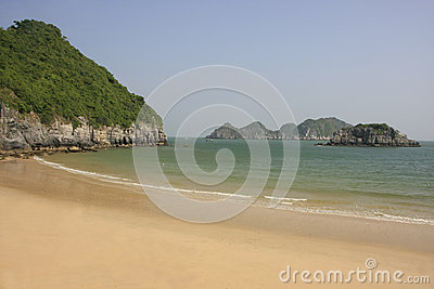 Beautiful empty beach, Cat Ba island, Halong Bay,