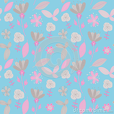 Colorful floral seamless pattern. Vector illustration