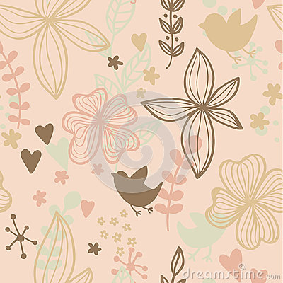 Cute seamless pattern with flowers and birds. Abstract floral background. Vector illustration