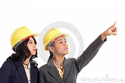 Beautiful engineers working