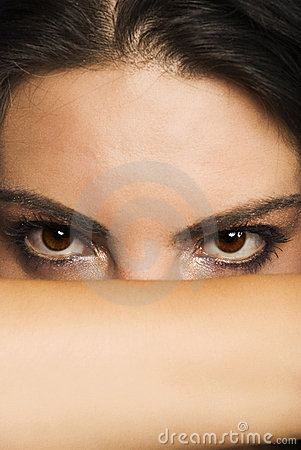 Beautiful enigmatic woman eyes