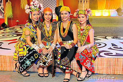 Young Dayak Ladies Editorial Stock Photo