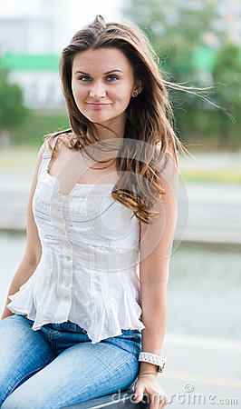 Beautiful european woman smiling outdoors