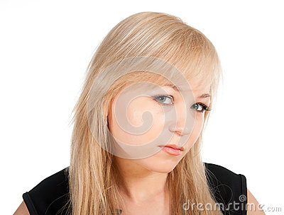 Beautiful European young businesswoman portrait isolated over a white background