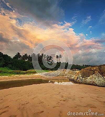 Beautiful evening sky over a tropical beach. Sri Lanka