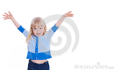 Beautiful excited little girl hold hands up happy isolated on a