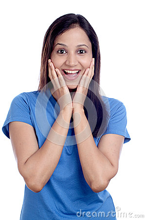 Beautiful excited young Indian girl