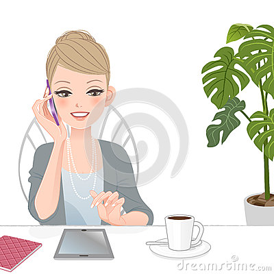 Free Beautiful Executive Woman Talking On The Phone With Touch Pad Royalty Free Stock Photography - 36553137