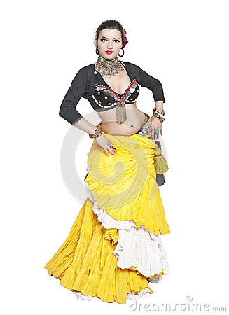 Free Beautiful Exotic Belly Tribal Dancer Woman Stock Photography - 63796792