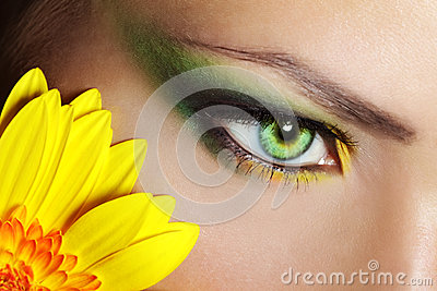Beautiful Eye Makeup with gerber flower