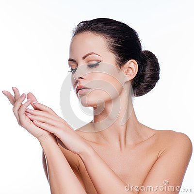 Free Beautiful Face Of Young Adult Woman With Clean Fresh Skin Royalty Free Stock Images - 54820129