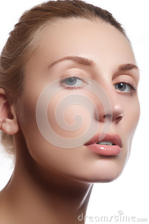 Free Beautiful Face Of Young Adult Woman With Clean Fresh Skin - Isolated. Beautiful Girl With Beautiful Makeup, Youth And Skin Care Co Royalty Free Stock Image - 62548806