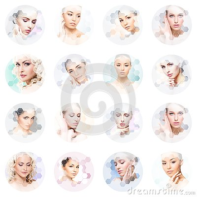 Free Beautiful Face Of Young And Healthy Girl In Collage. Plastic Surgery, Skin Care, Cosmetics And Face Lifting Concept. Royalty Free Stock Photos - 140339628