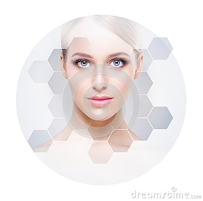 Free Beautiful Face Of Young And Healthy Girl. Plastic Surgery, Skin Care, Cosmetics And Face Lifting Concept. Royalty Free Stock Photos - 118440618
