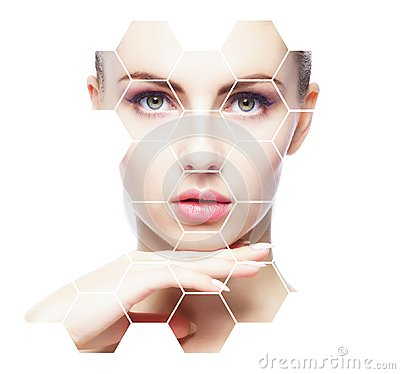 Free Beautiful Face Of Young And Healthy Woman. Plastic Surgery, Skin Care, Cosmetics And Face Lifting Concept. Stock Photography - 117015702