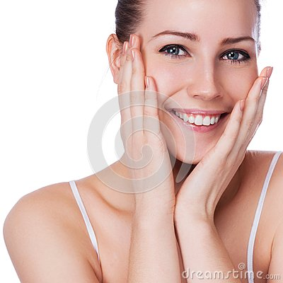 Beautiful face of young adult woman with clean fresh skin