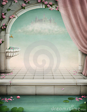 Beautiful fairy-tale backdrop for an illustration