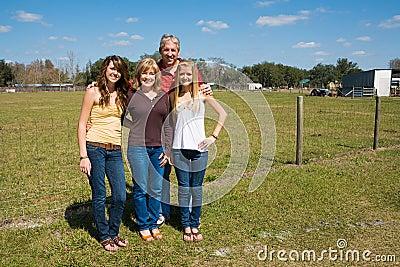 Beautiful Family on Farm