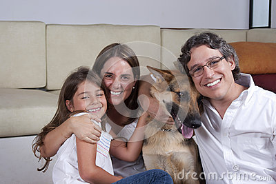 Beautiful Family And Their Dog