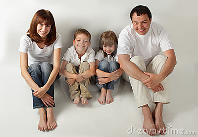 Beautiful family with two children. Series