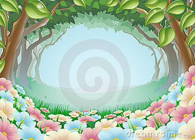 Beautiful fantasy forest scene illustration
