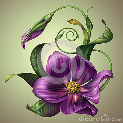 Free Beautiful Fantasy Purple Flower With Green Leaves Stock Photography - 30389022