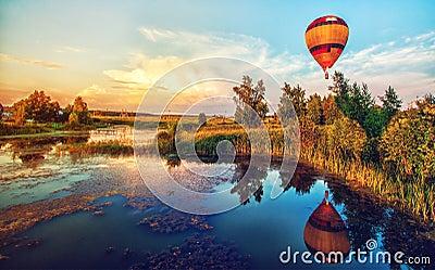 Beautiful fantasy sunrise summer landscape