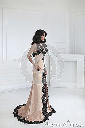 Free Beautiful Fashion Brunette Woman In Elegant Dress With Long Wavy Royalty Free Stock Photo - 75308175
