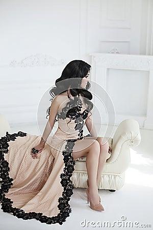 Free Beautiful Fashion Brunette Woman In Elegant Dress With Long Wavy Stock Image - 75308291