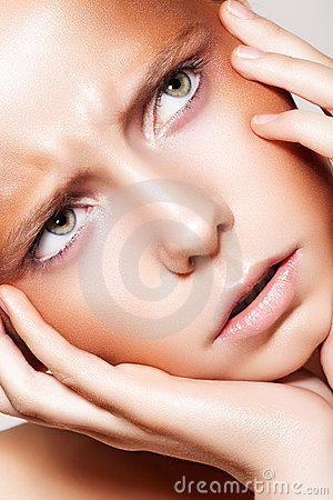 Beautiful fashion frown model face, bronze make-up