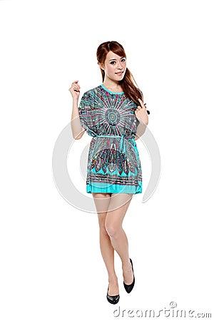 Beautiful fashion model asian girl in modern dress