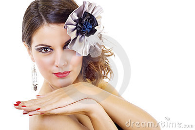 Beautiful fashion model with fine make-up