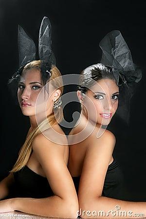Beautiful fashion two women with veil