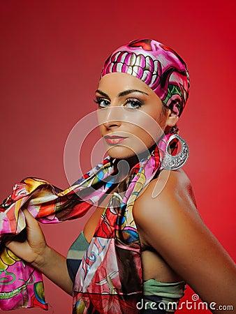 Beautiful fashion woman with bright make-up
