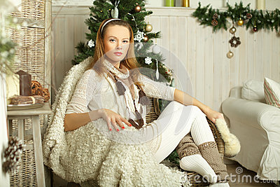 Beautiful fashion woman, Christmas beauty