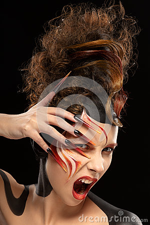 Free Beautiful Fashion Woman Color Face Art Fenix Style And Nail Design Stock Photography - 52596572
