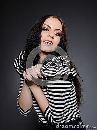 Beautiful fashion woman with creative make-up