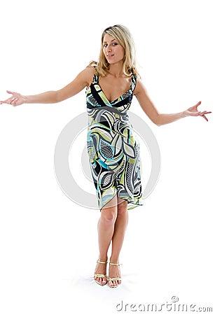 Beautiful fashion woman dancing