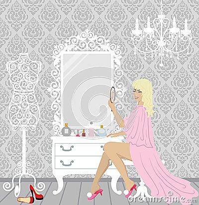 Beautiful fashion woman in her boudoir